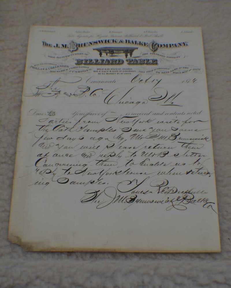 Antique J M Brunswick Co Billiard Letterhead