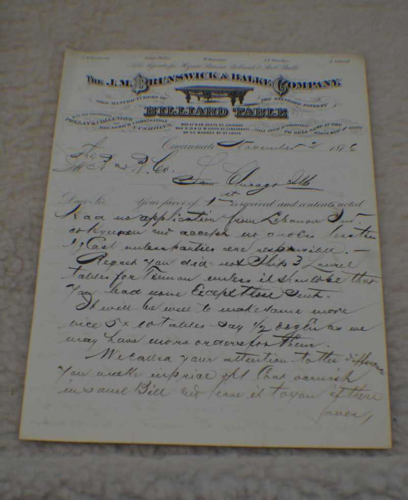 Antique Brunswick & Balke Billiard Letterhead
