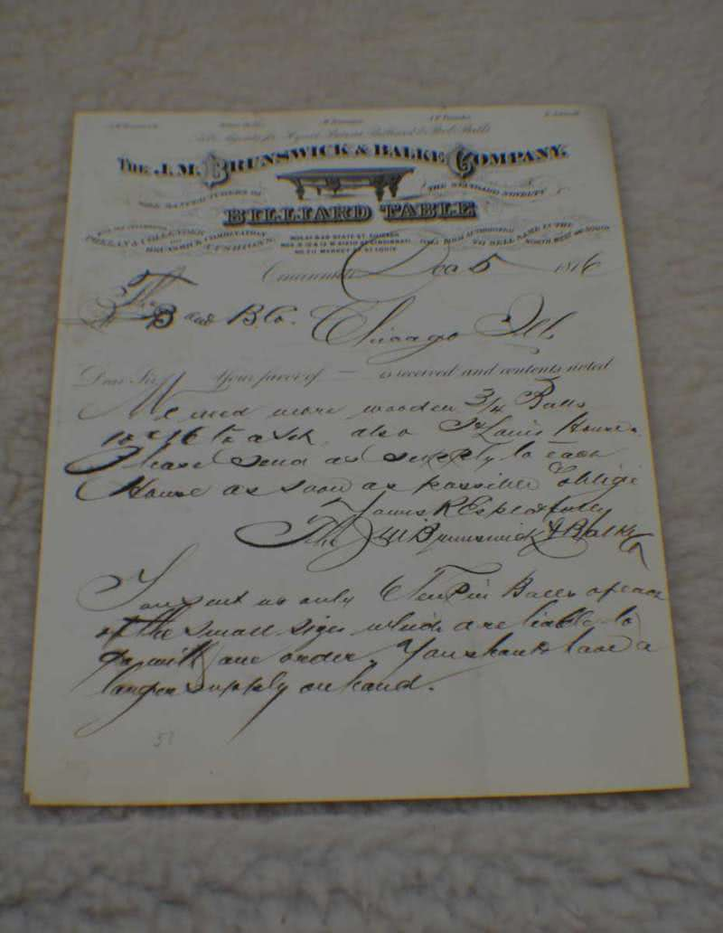 Antique J M Brunswick Letterhead c 1876. Museum Billiard Room Game Room Decor