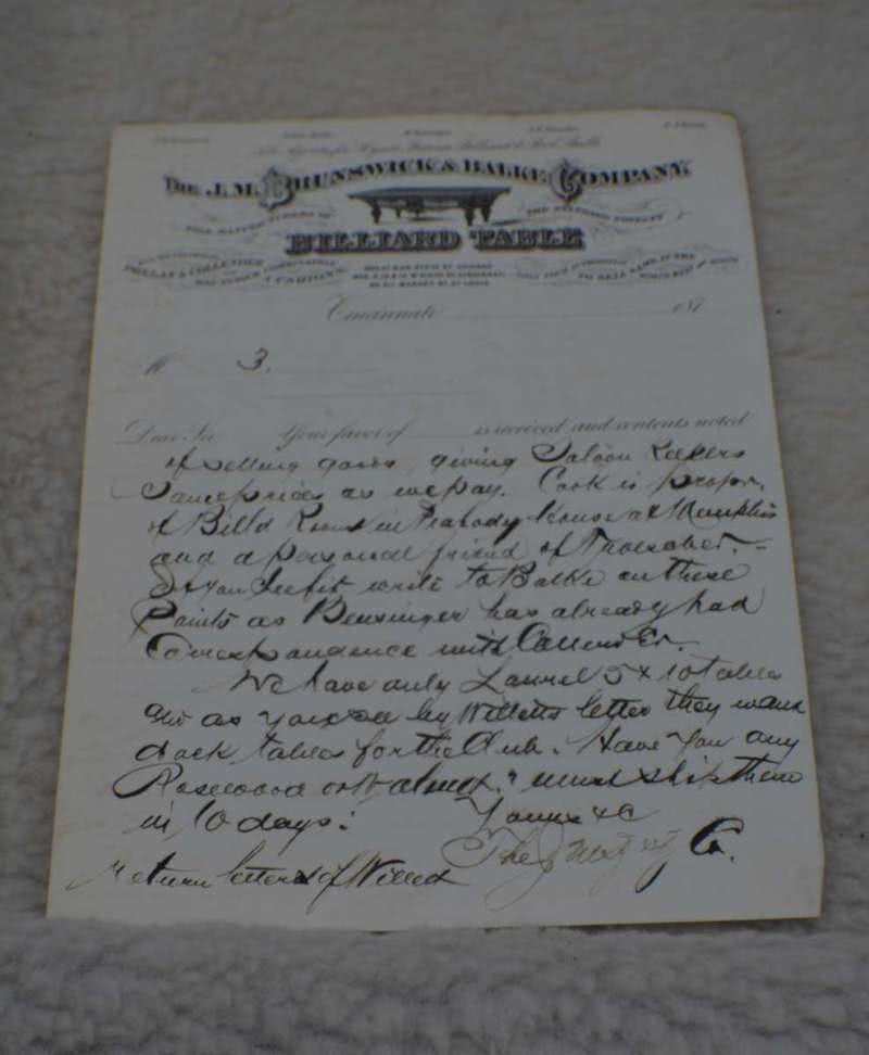 Antique J M Brunswick Billiards Letterhead