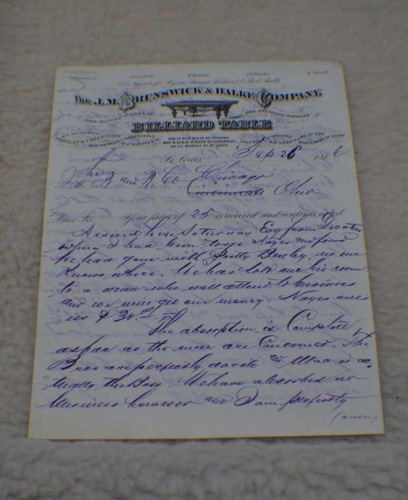 Antique J M Brunswick Co Billiard Tables Letterhead