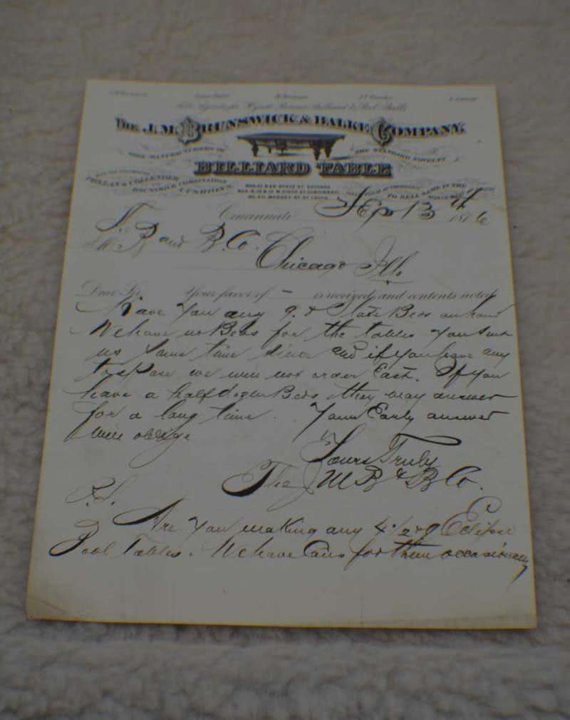 Antique Brunswick Billiard Letterhead