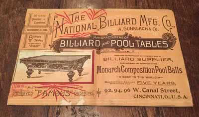 Antique A. Gunklach MFG Company Billiard Catalog