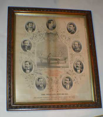 Antique The Billiard Monarchs Original Stone Lithograph Tournament Poster