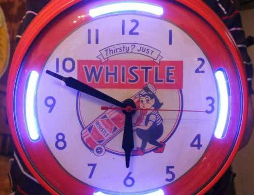 Antique Whistle Orange Drink Neon Clock 40s.