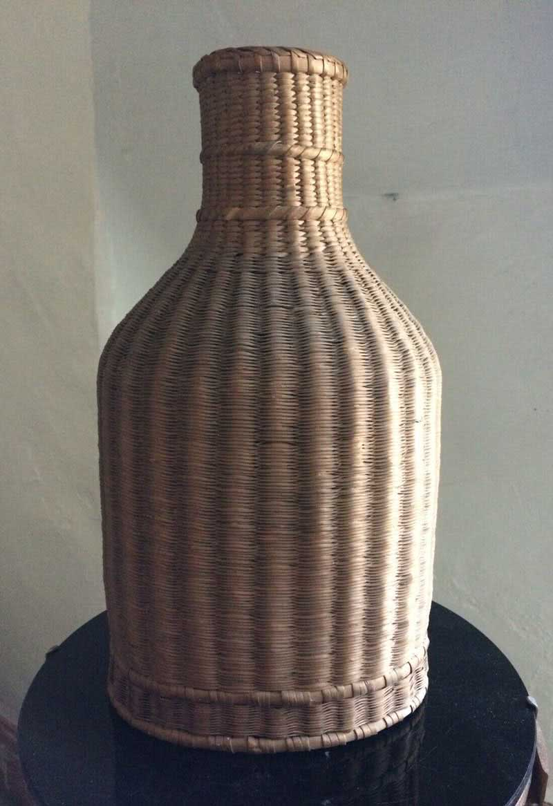 Antique Wicker Ivory Ball Storage Bottle c1880s