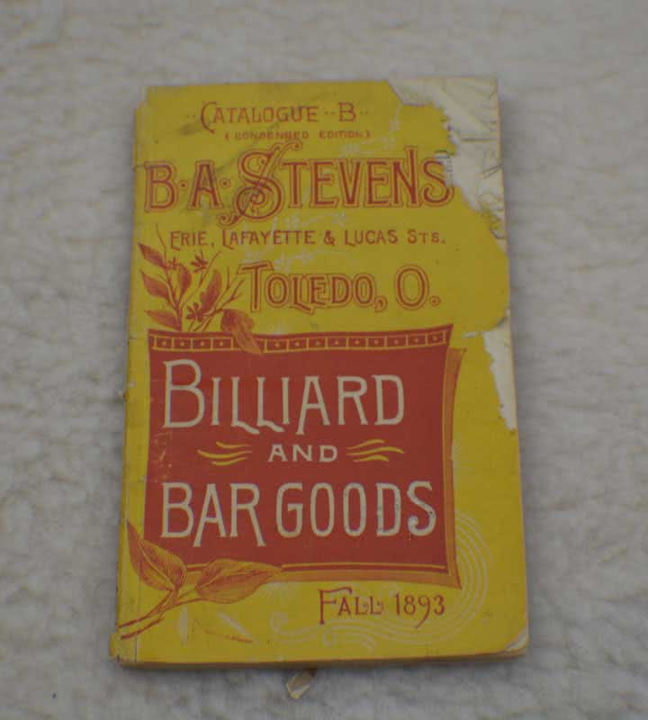 Antique B A Stevens Billiard And Bar Catalog