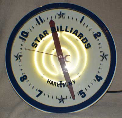 Collectible Billiard Harlem New York Star Billiards Neon Clock