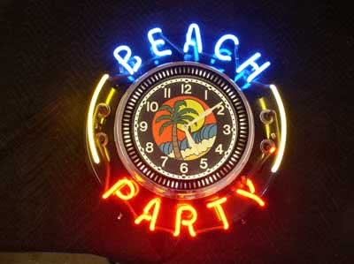 Collectible Neon Spinner Clock Beach Party