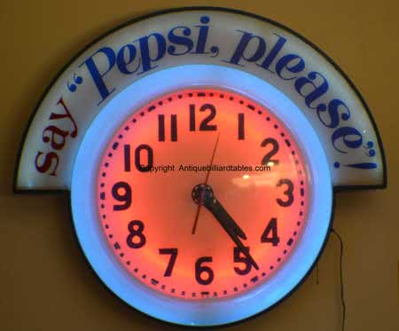Collectible Say Pepsi Please Cleveland Manufacture Neon Clock