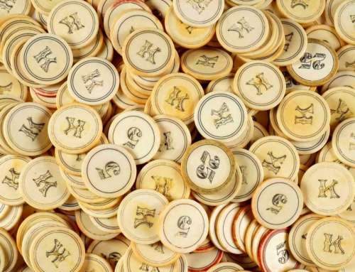 Antique Ivory Old West Saloon Poker Chips c1880s