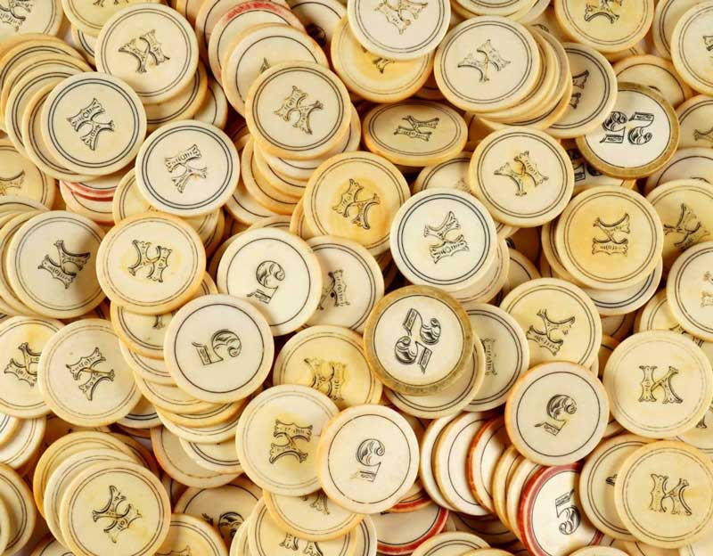 Antique Ivory Old West Poker Chips c1880s