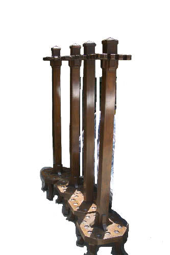 Antique Brunswick Balke Collender Company Mission Billiard Free Standing Pool Cue Racks