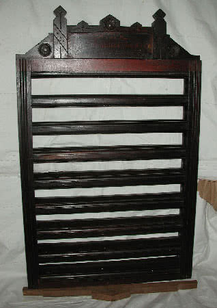 Antique Brunswick Balke Collender Company Walnut Wall Mounted Pool Ball Display Rack