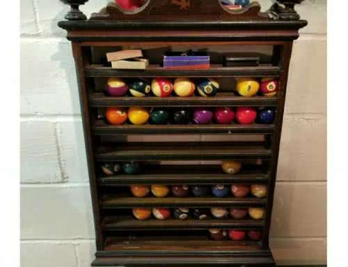 Antique Victorian Chas Passow & Sons Chicago Inlaid Pool Ball Rack