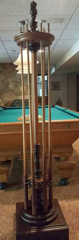 Antique Emanuel Brunswick Revolving Pool Cue Rack