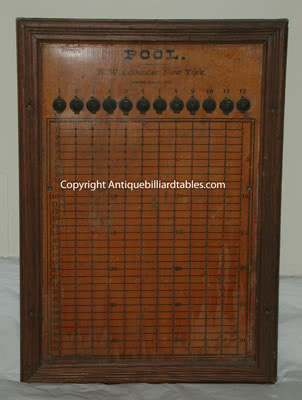 Antique HW Collender Company Wall Mounted Billiard Pin Pool Board c1870s