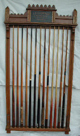Antique J.E. Came Standard Tables Billiard Pool Cue Rack