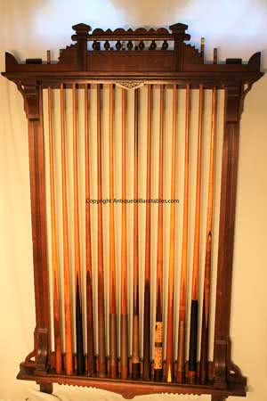 Antique JM Brunswick & Balke Company Walnut Queen Anne Pool Cue Rack