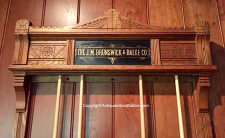 Antique J M Brunswick & Balke Co East Lake Pool Cue Rack