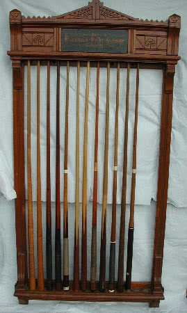 Antique J.M. Brunswick & Balke Billiard Cue Rack