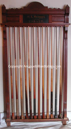 Antique O.L. Briggs Billiard Cue Rack