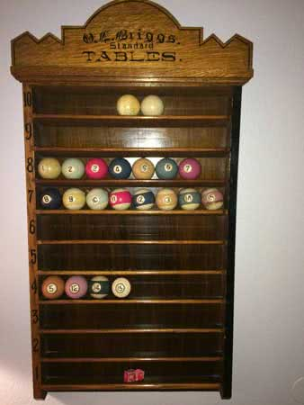 Antique O.L. Briggs Wall Mounted Pool Ball Rack c1880s