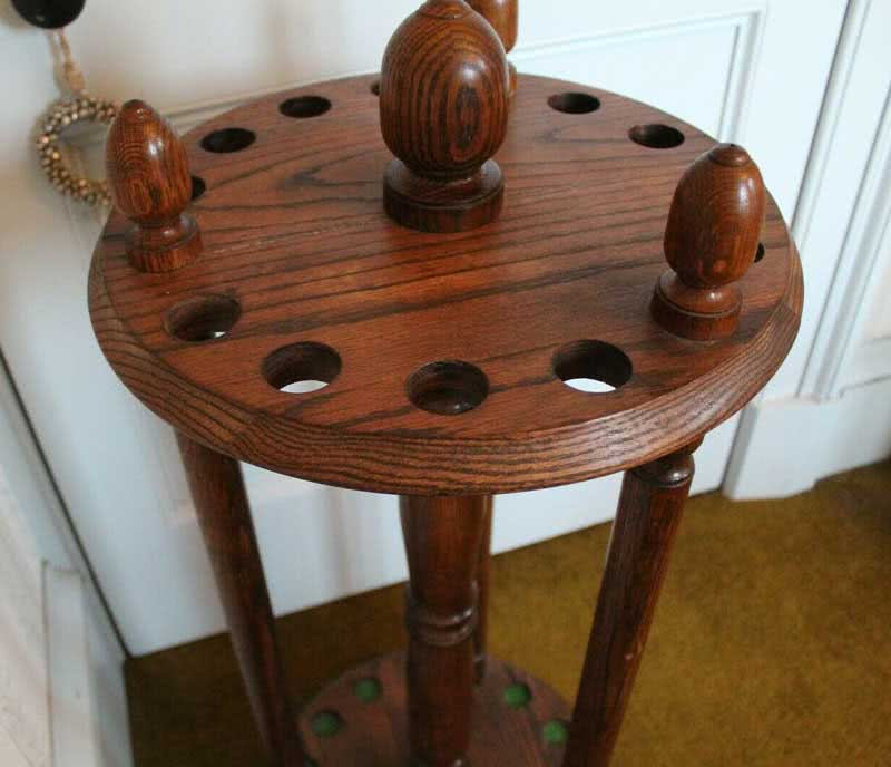 Antique Arts & Crafts Revolving Pool Cue Rack