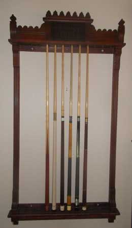 Antique Oliver L. Briggs Pool Cue Rack