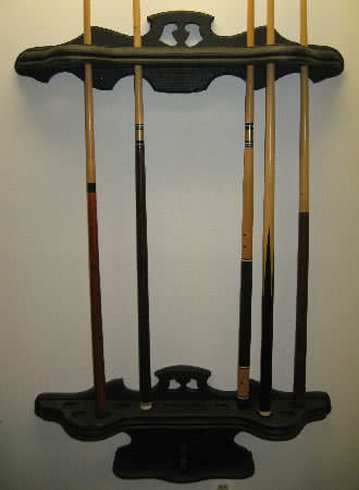 Antique Victorian Two Piece Pool Cue Rack Wall Mounted