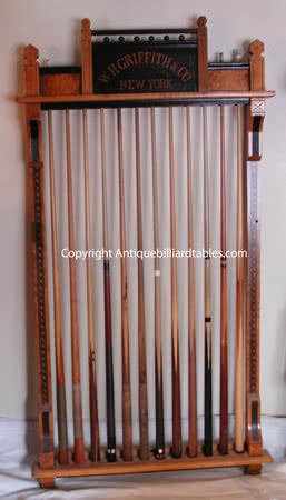 Antique W.H. Griffith Billiard- Cue Rack