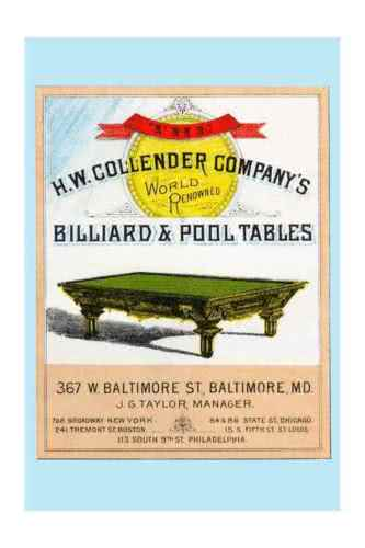 Antique HW Collender World Renown Pool Table
