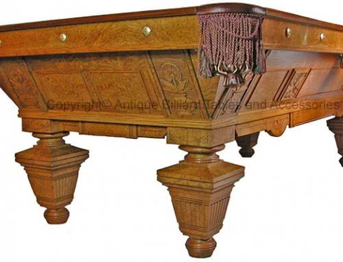 Brunswick Balke Collender Billiard Company Carved Manhattan Antique Pool Table