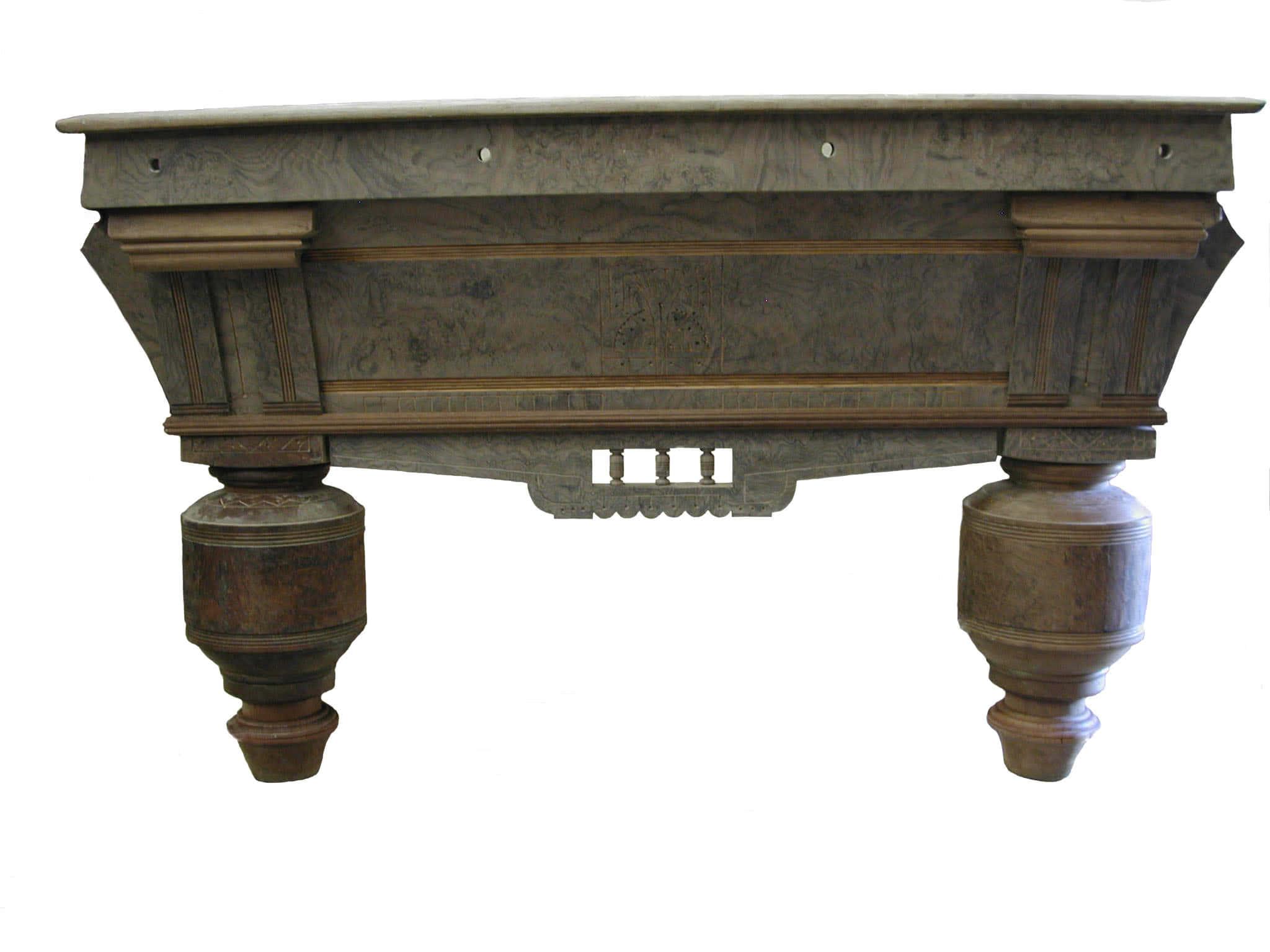 Antique Brunswick Balke Collender Billiard Company Carved Walnut Pool Table