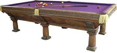 Antique Brunswick Balke Collender One Of A Kind Six Leg Carved 10' Pool Table
