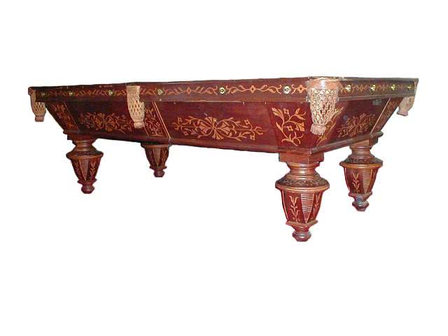 Antique Brunswick Balke Collender Billiard Company Walnut Inlaid To Death One Of A Kind Pool Table