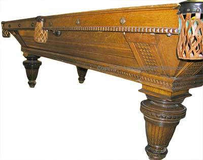 Antique Brunswick Balke Collender Carved Union League Pool Table