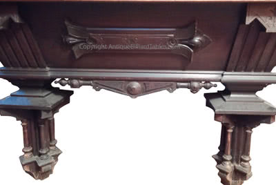 Antique H.W. Collender Billiard Company World Renown Carved 9' Pool Table