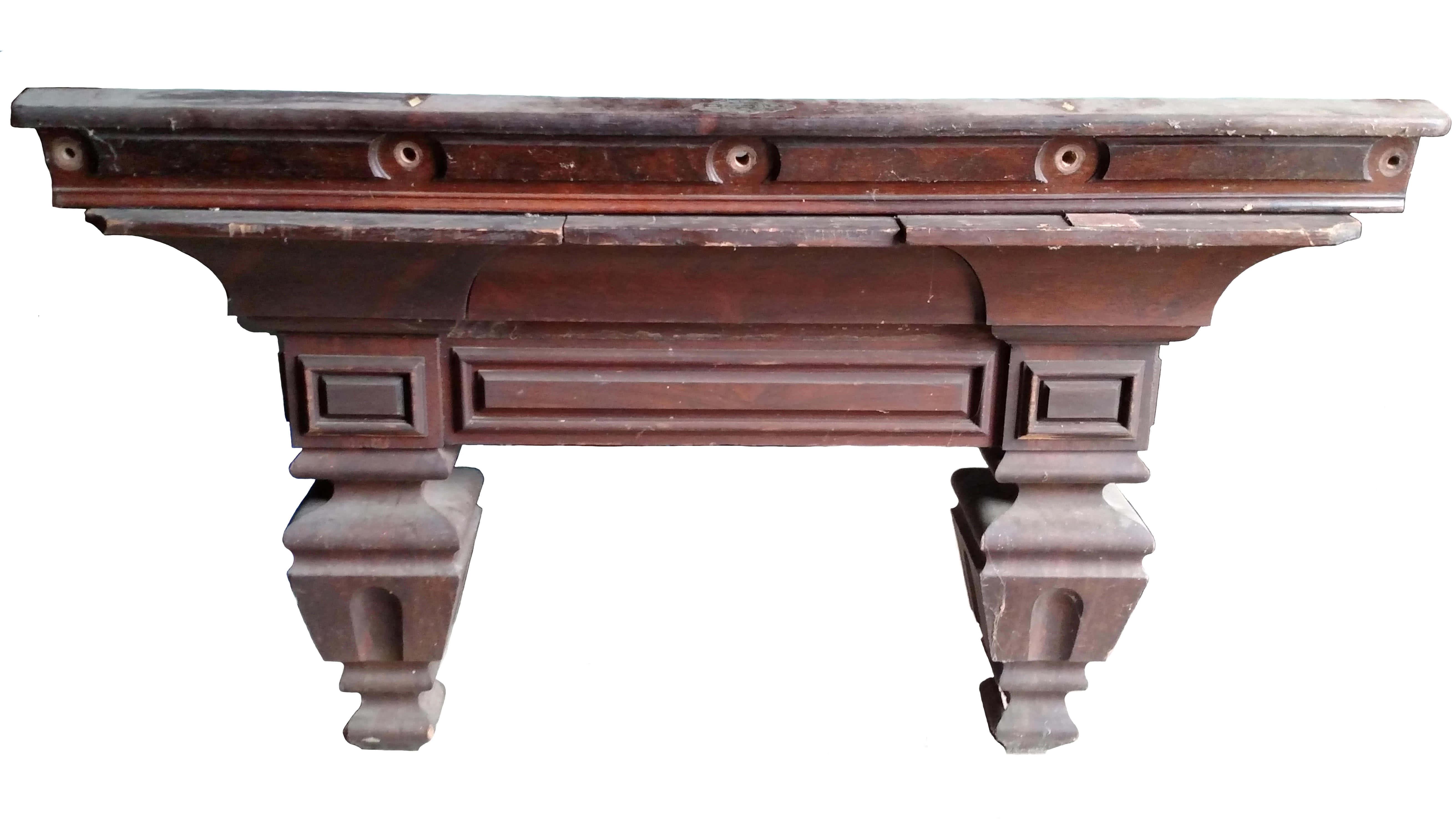 Antique J.E. McIntosh Billiard Company New York Walnut Pool Table