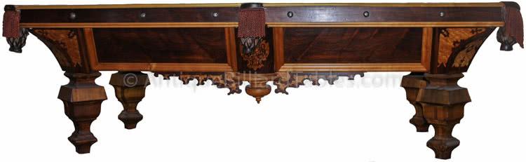 Antique J.M. Brunswick & Balke Billiard Company Nonpariel Novelty Inlaid Pool Table