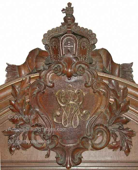 Antique Kaiser Wilhelm billiard cue cabinet crest