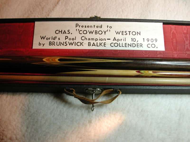 Antique Chas Cowboy Weston Worlds Pool Champion Cue