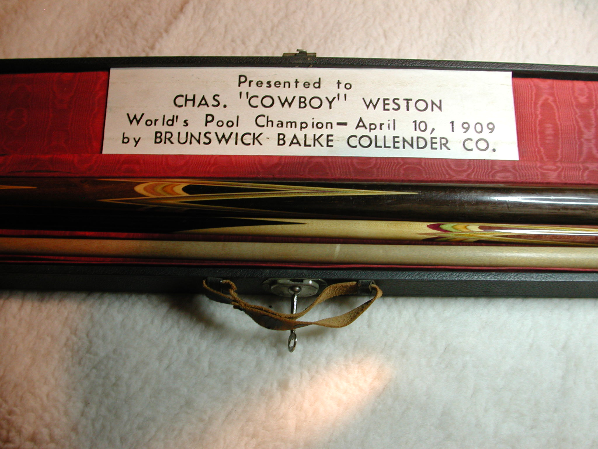 "Antique Chas ""Cowboy"" Weston World Pool Champion Billiard Cue 1909 #360 Brunswick Balke Collender Company"