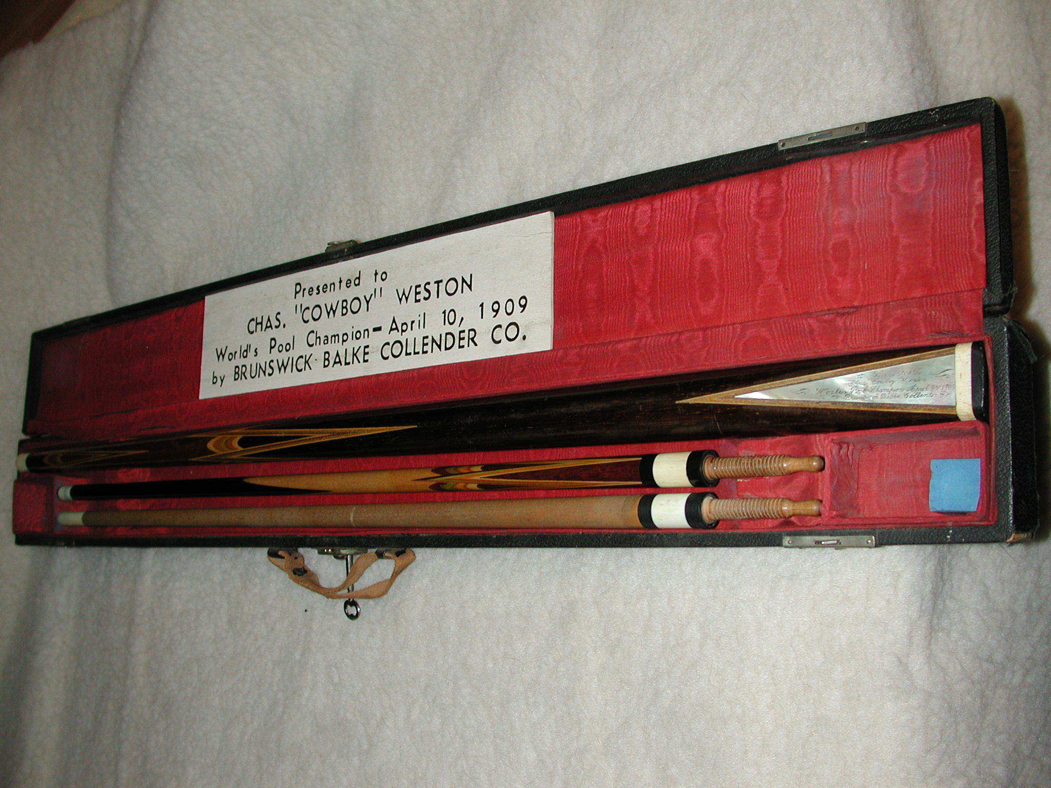 "Antique Chas ""Cowboy"" Weston World Pool Champion Pool Cue 1909 Brunswick Balke Collender Co #360"