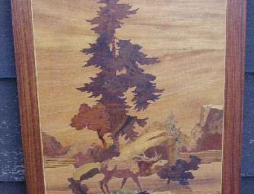 Antique Brunswick Balke Collender Company Stag Marquetry