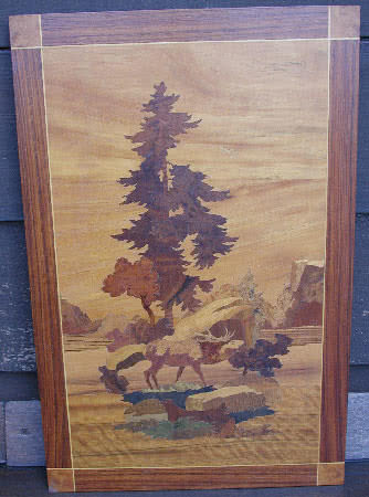 Antique Brunswick Balke Collernder Company Stag Marquetry