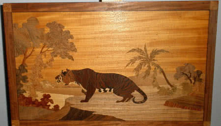 Antique Brunswick Balke Collender Tiger Marquetry Picture