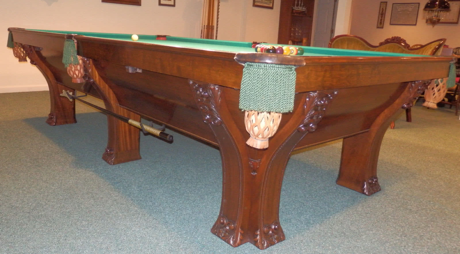 Antique Brunswick Pfister Pool Table