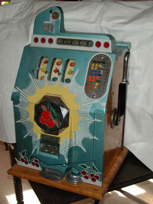 Antique Bursting Cherries Slot Machine Game Room