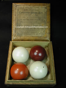 Antique Burt Billiard Four Ball Set With Box